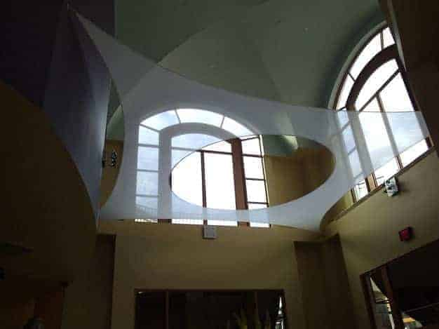 Interior architectural fabric tension structure