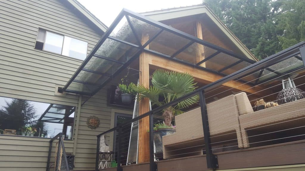 metal glass awning