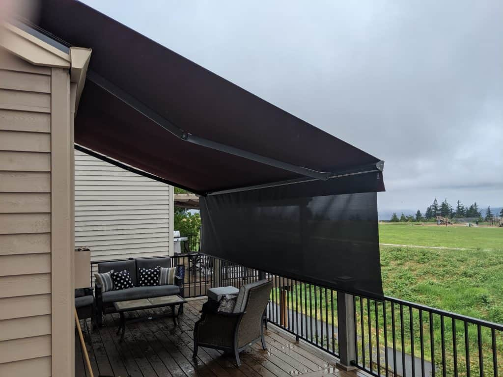 retractable awning with drop shade