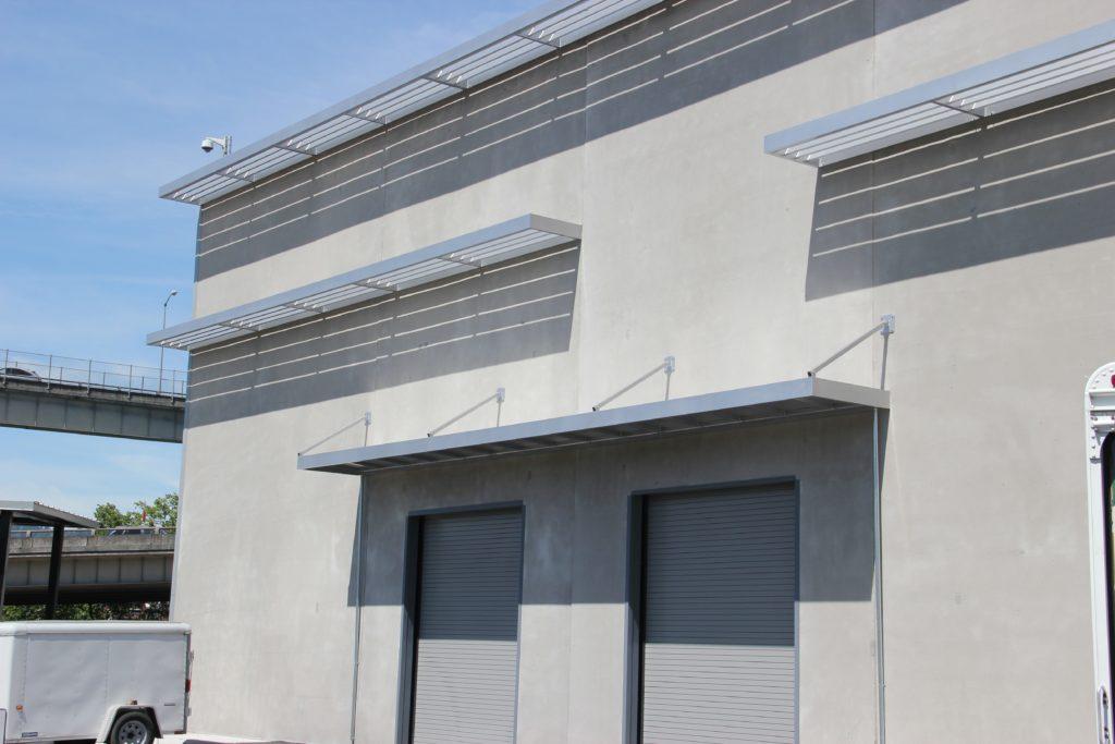 Metal loading dock awning