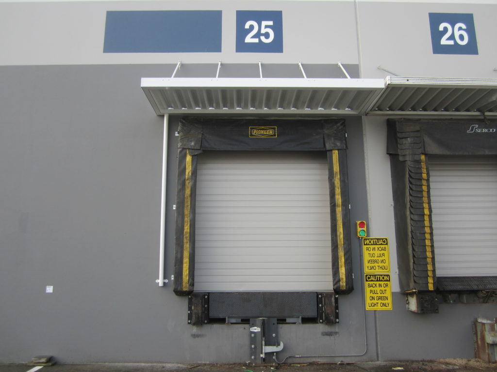 loading dock canopy with downspout